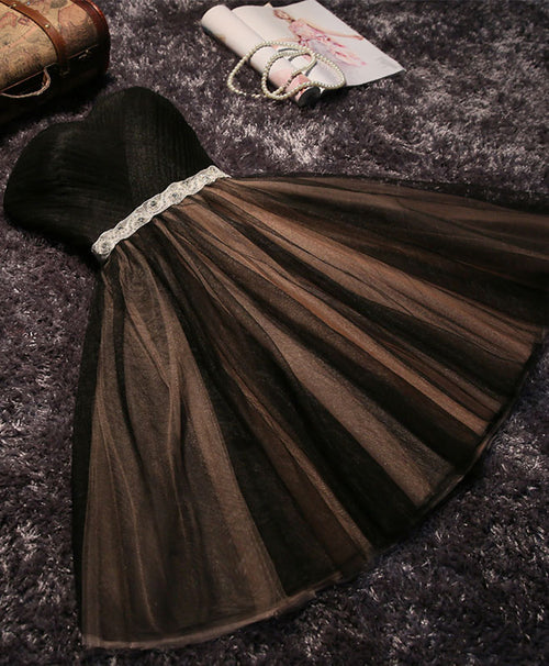 Black A line sweetheart neck short prom dress, homecoming dresses