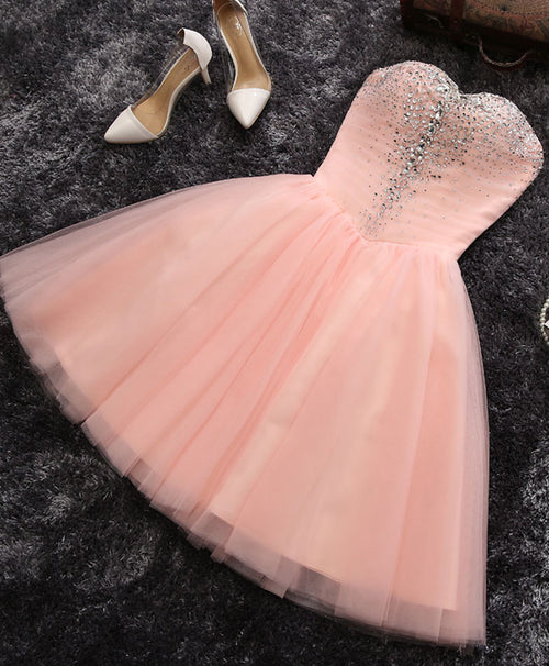 Pink A line sweetheart neck short prom dress, homecoming dresses