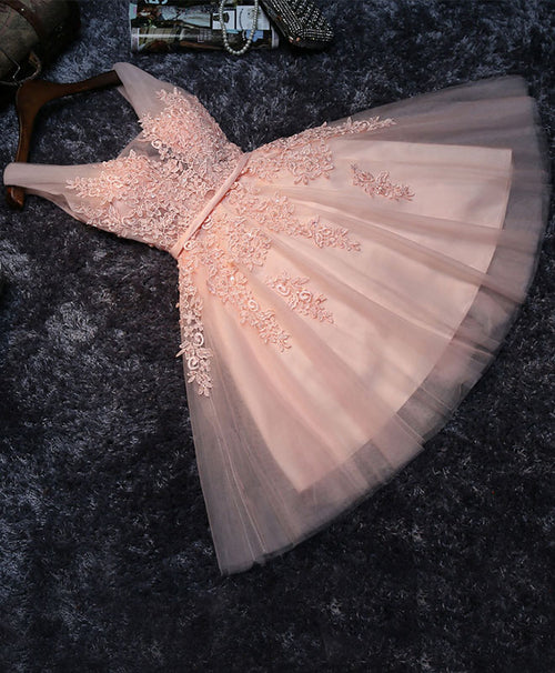 Pink v neck tulle lace short prom dress, homecoming dresses