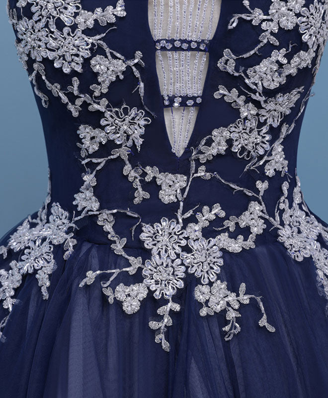 High quality dark blue tulle beading short prom dress, homecoming dress