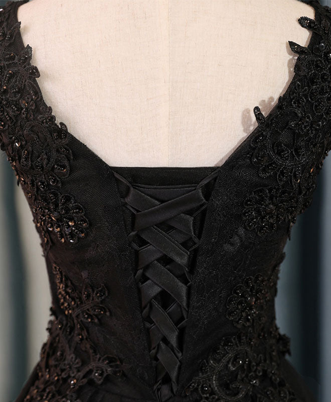 Black v neck lace short prom dress,homecoming dresses, homecoming dresses