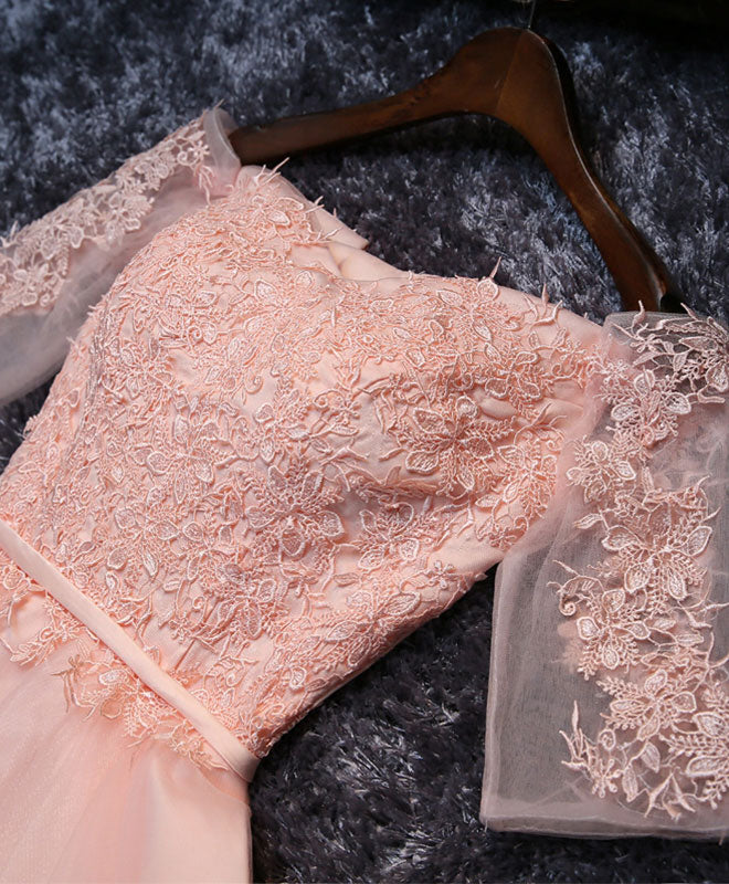 Pink lace tulle A line short prom dress, homecoming dresses