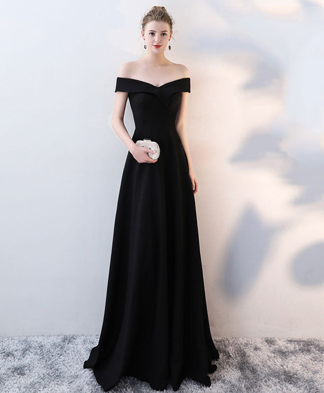 Simple v neck long prom dress, cheap evening dress