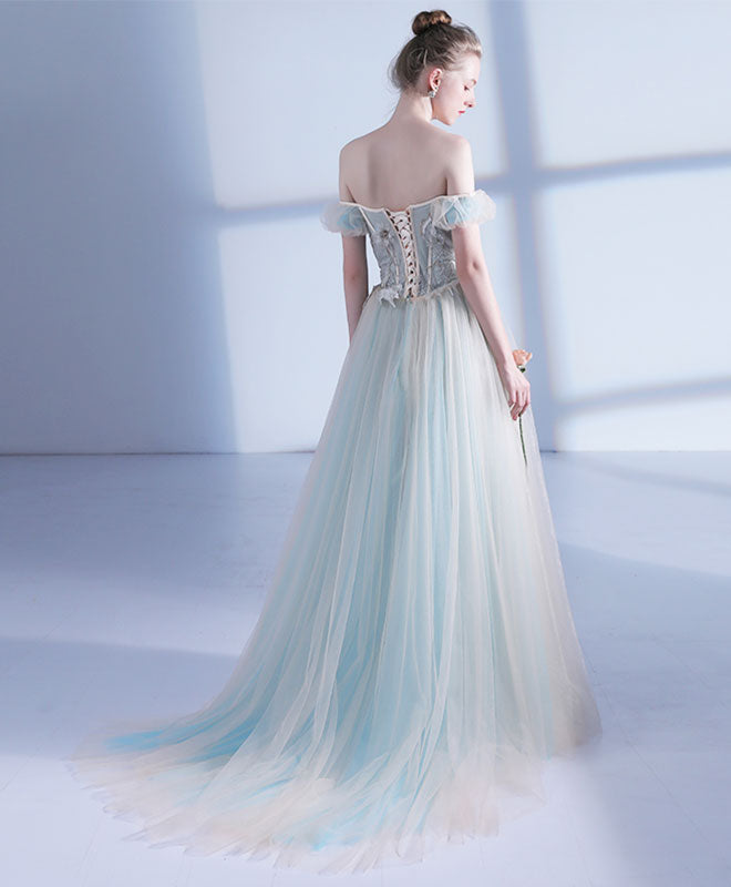 Unique light green tulle long prom dress, evening dress – shopluu