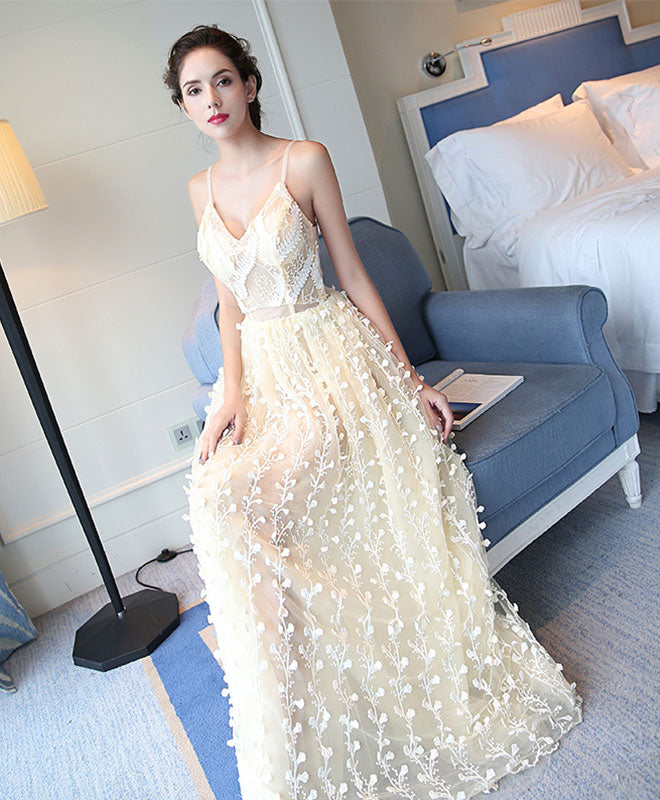 Stylish champagne tulle lace long prom dress, evening dress
