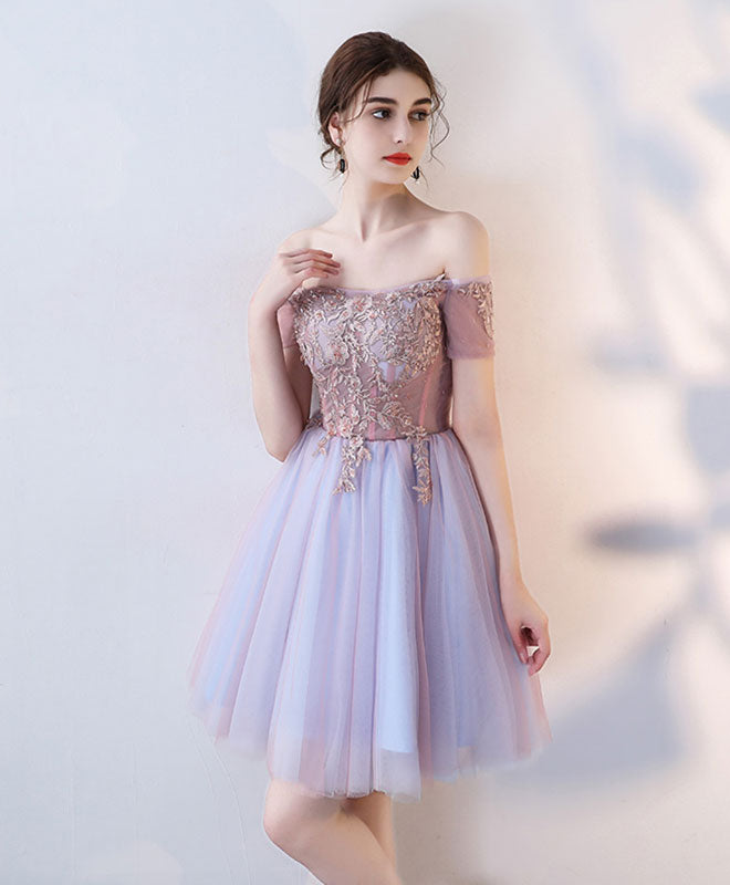Cute lace off shoulder short prom dress, homecoming dress