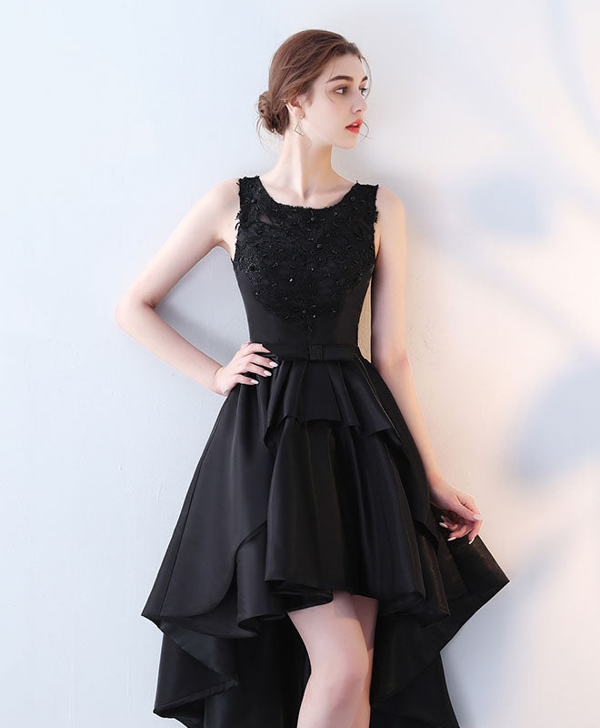 Cute black lace high low prom dress, lace evening dress