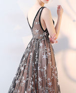 Cute black v neck long prom dress, black evening dress