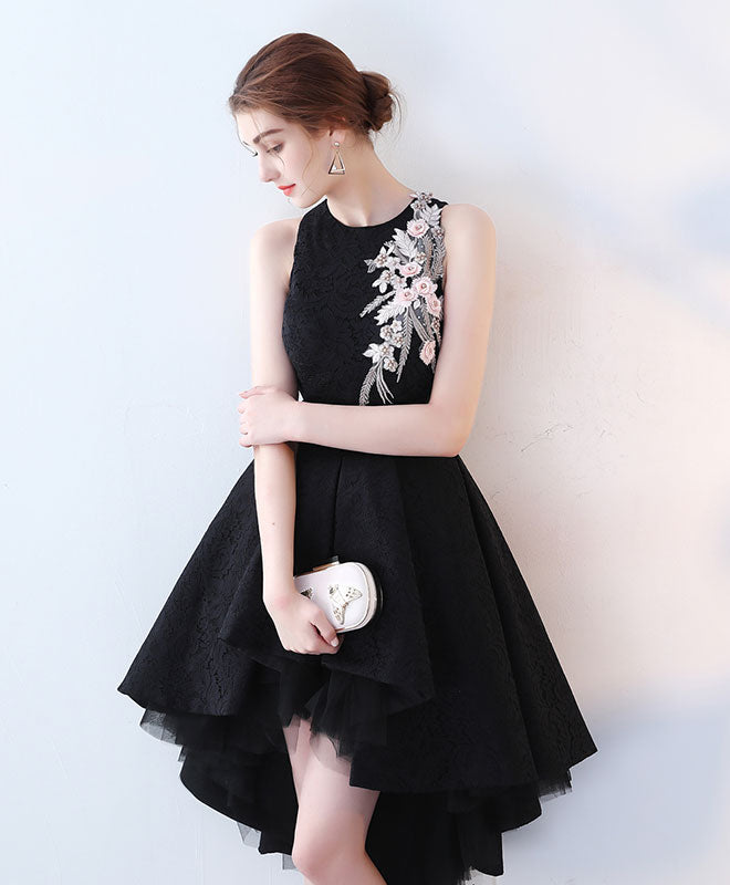 Cute Black High Low Prom Dress Short Evening Dress Shop Elegant