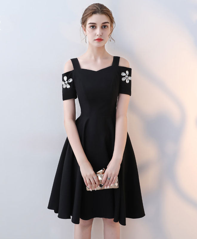 Cute black short prom dress, short party dress