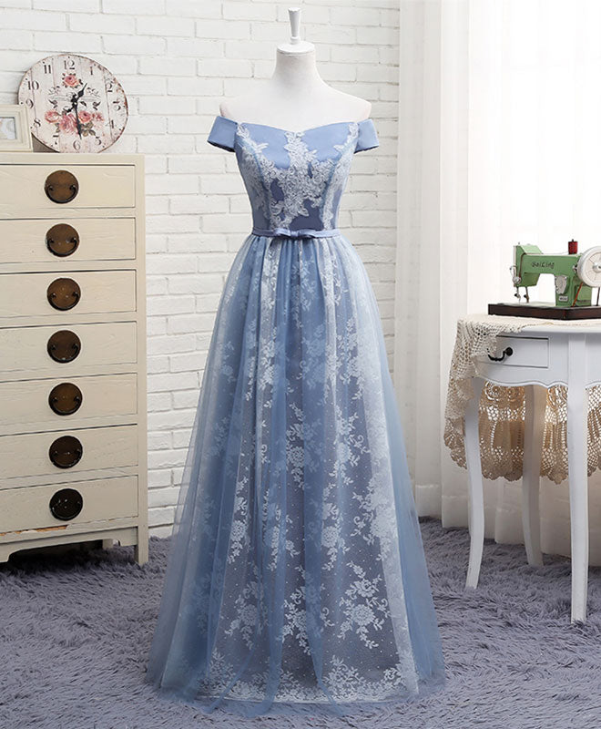 A line off shoulder lace tulle long prom dress, lace evening dress