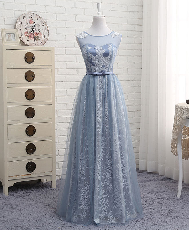 A line round neck lace tulle long prom dress, lace evening dress