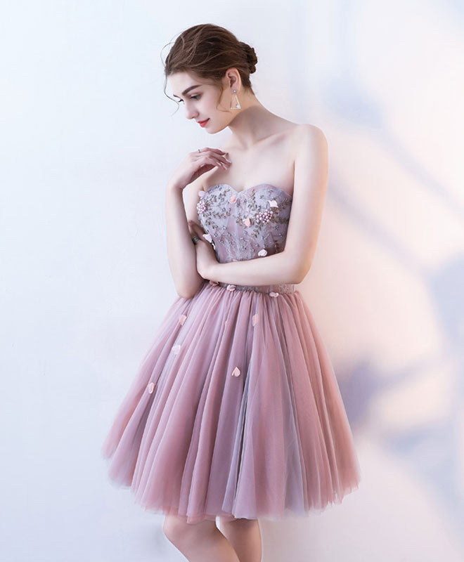 Cute sweetheart neck short prom dress, lace homecoming dress