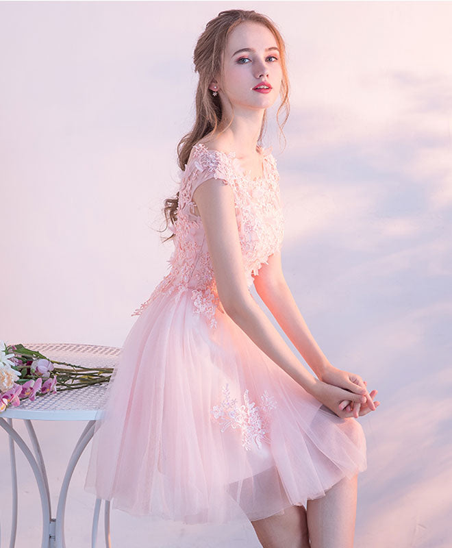 Pink lace tulle short prom dress, lace evening dress