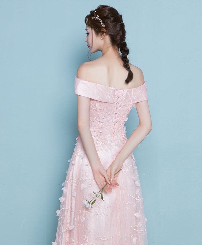 Pink lace off shoulder long prom dress, pink evening dress