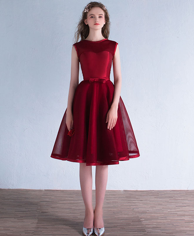 Burgundy A line short prom dress, burgundy evening dress