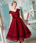 Burgundy V neck tea length prom dress, burgundy evening dress