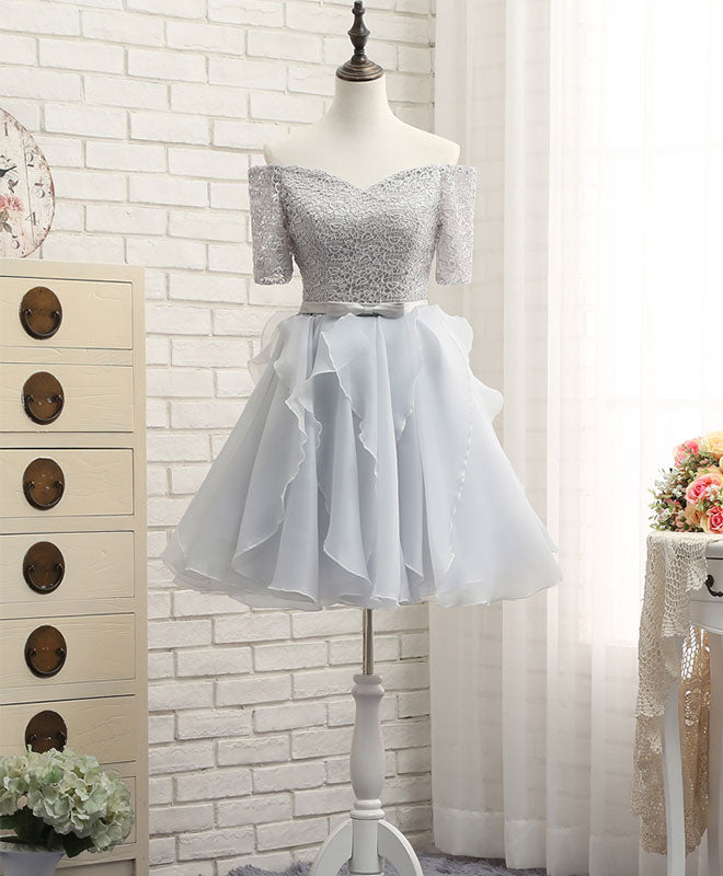 Cute gray lace sleeve short prom dress, homecoming dresses