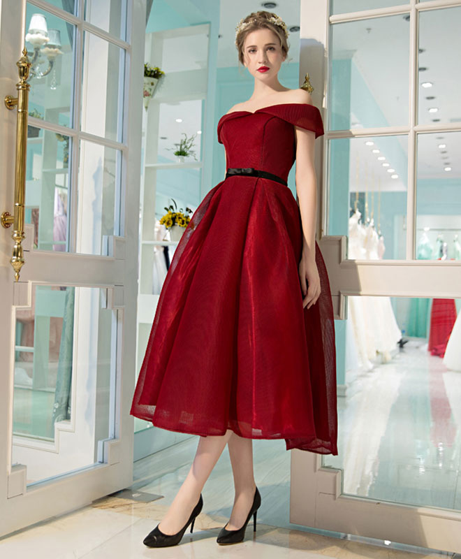 Burgundy off shoulder short prom dress, burgundy evening dress