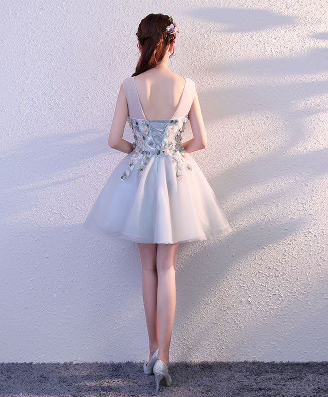 Gray round neck tulle short prom dress, formal dress