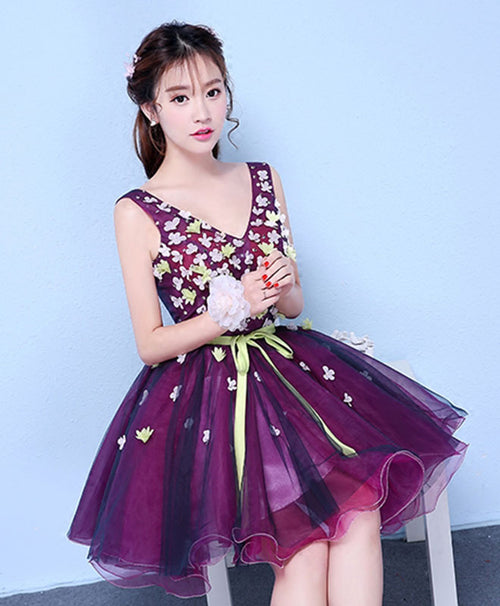 Purple v neck tulle short prom dress, homecoming dress