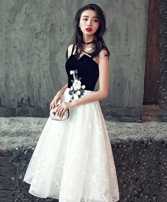 Cute black and white short prom dress, homecoming dress