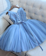 Cute blue v neck tulle lace short prom dress, cocktail dress