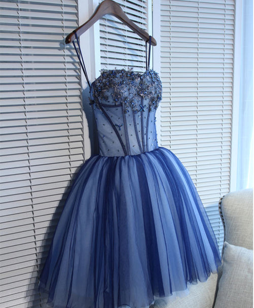 Charming blue lace tule A lin short prom dress, homecoming dress