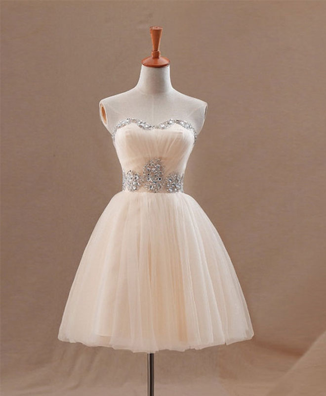 Champagne A line tulle short prom dress, homecoming dress