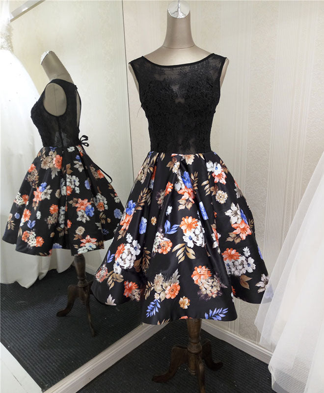 Stylish lace floral pattern A line short prom dress, homecoming dresses