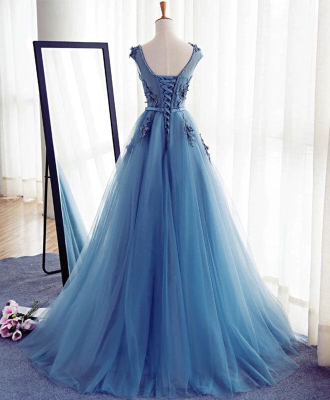 Blue A line tulle lace long prom dress, evening dress