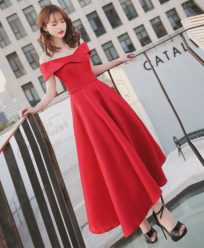 Simple red off shouldre tea length prom dress, red evening dress