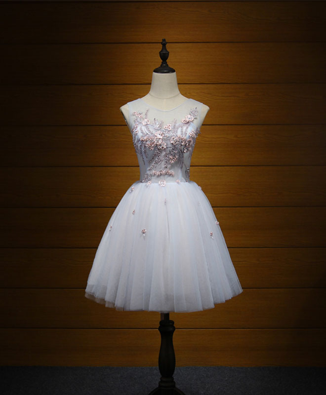 Cute tulle lace applique short prom dress, cute evening dress