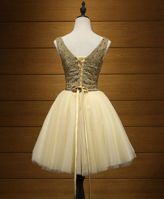Cute gold tulle lace short prom dress, cute evening dress