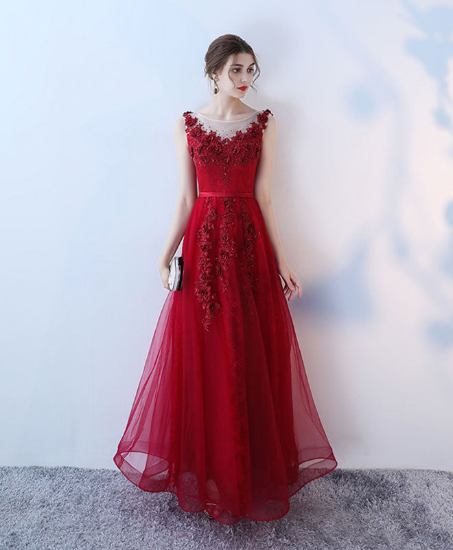 Burgundy tulle lace long prom dress, evening dress