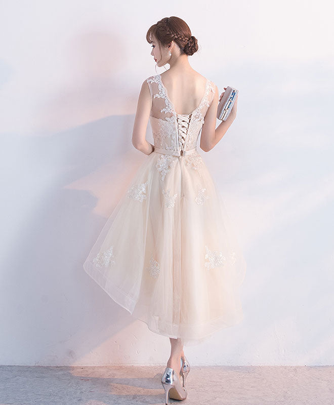 Champagne Lace Short Dress: Champagne Tulle Lace Short Prom Dress, High Low Evening Dress