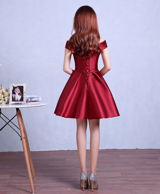 Burgundy knee length prom dress, homecoming dress