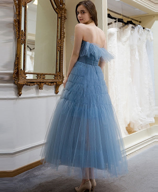 Cute blue tulle short prom dress, homecoming dress