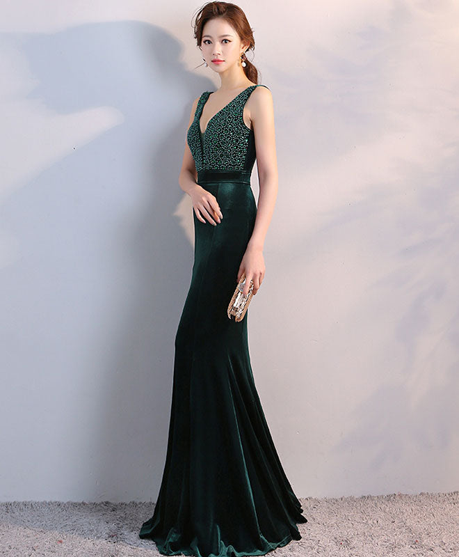 Green v neck velvet long prom dress, mermaid evening dress