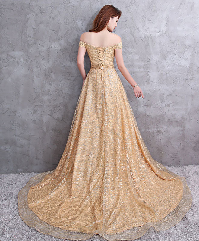 Champagne tulle sequins long prom dress, evening dress