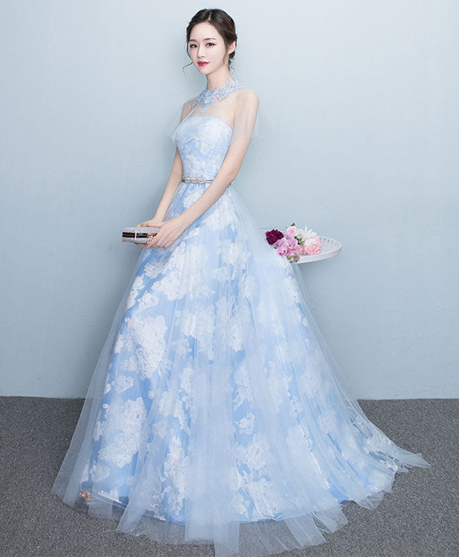 Light blue tulle long prom dress, evening dress