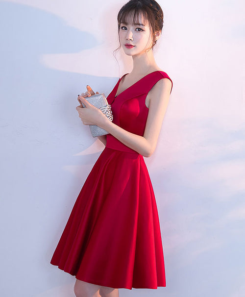 Simple burgundy satin short prom dress, homecoming dress