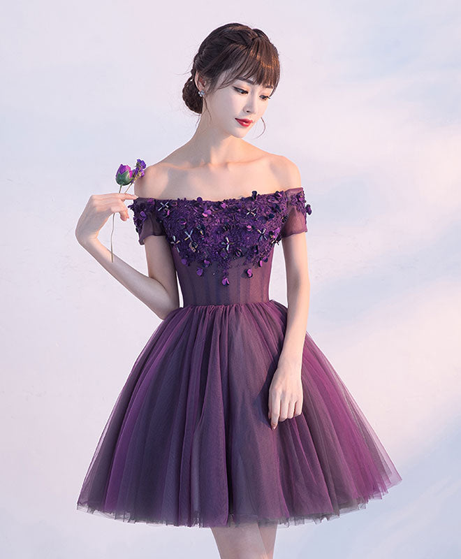 c2cfbea3737d Cute A line purple off shoulder short prom dress