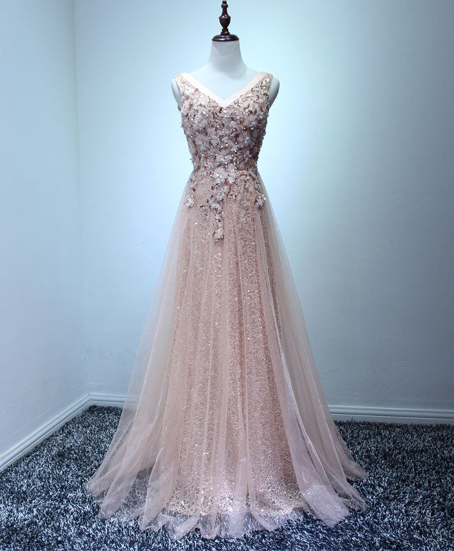 Light pink tulle swquins long prom dress, evening dress