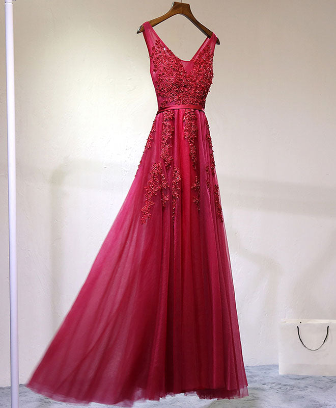 Burgundy v neck lace tulle long prom dress, lace evening dress