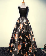 Stylish lace floral pattern A line long prom dress, evening dresses