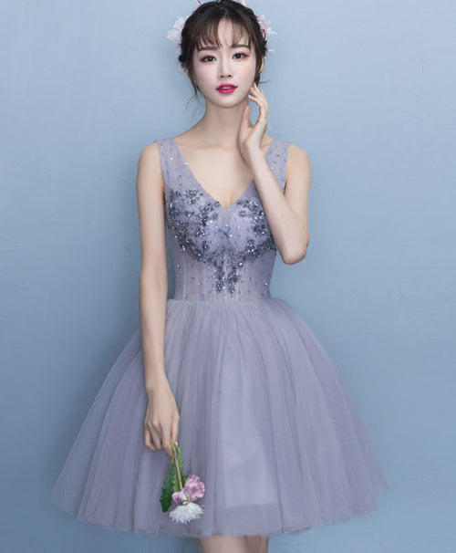 Cute tulle lace v neck short prom dress, homecoming dress
