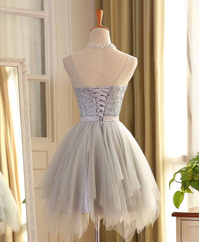 Cute tulle sequins irregular short prom dress, homecoming dress