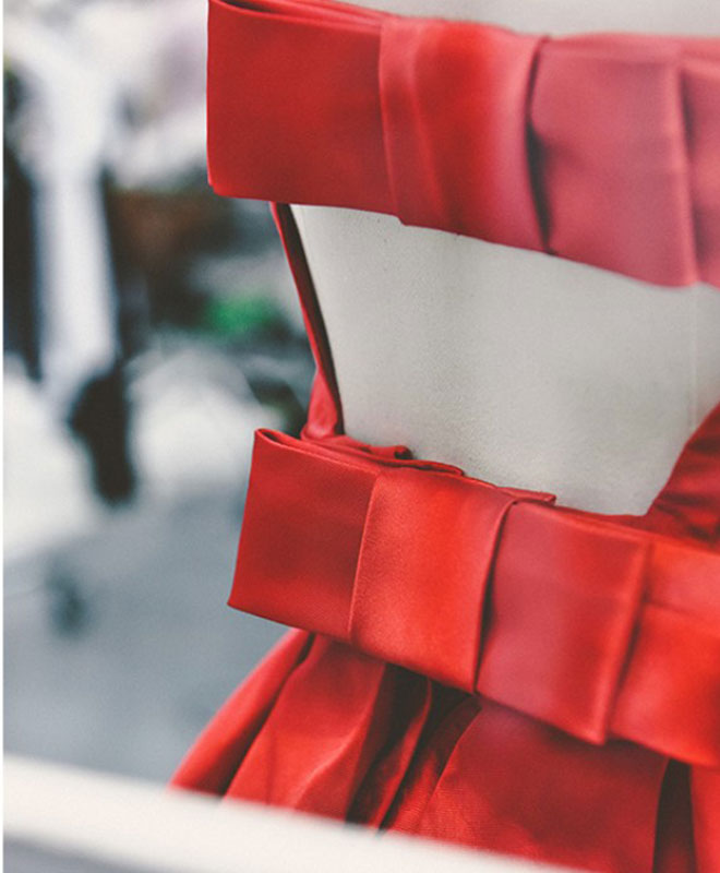 Cute red A line satin short prom dress, red evenig dress