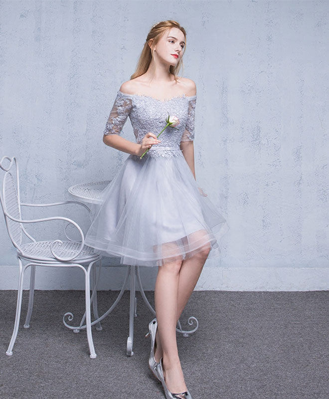 Gray tulle lace short prom dress, homecoming dress